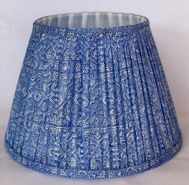 Blue & White Cotton Block Print Lampshade