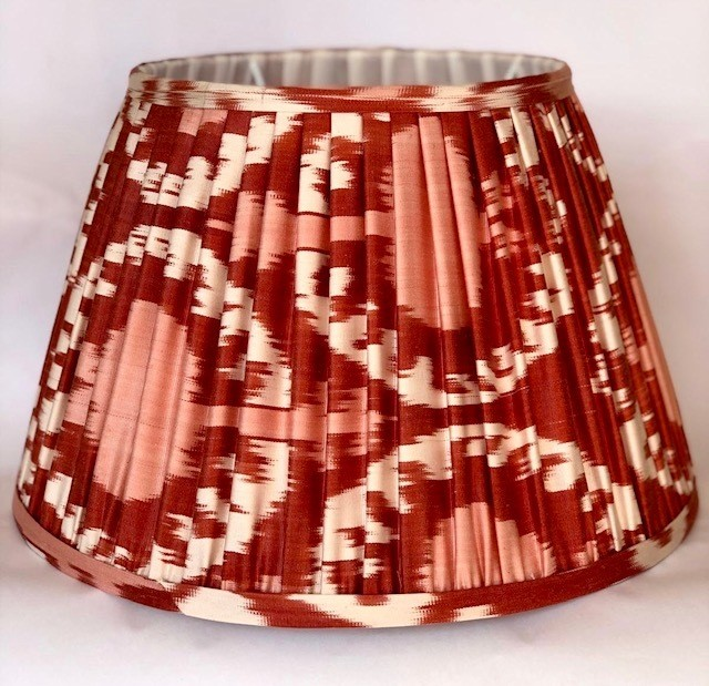 Red, White & Pink Silk Ikat Lampshade