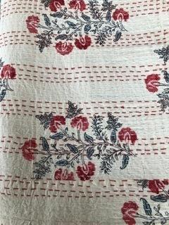 Red & Cream Flower Bedspread - King Size