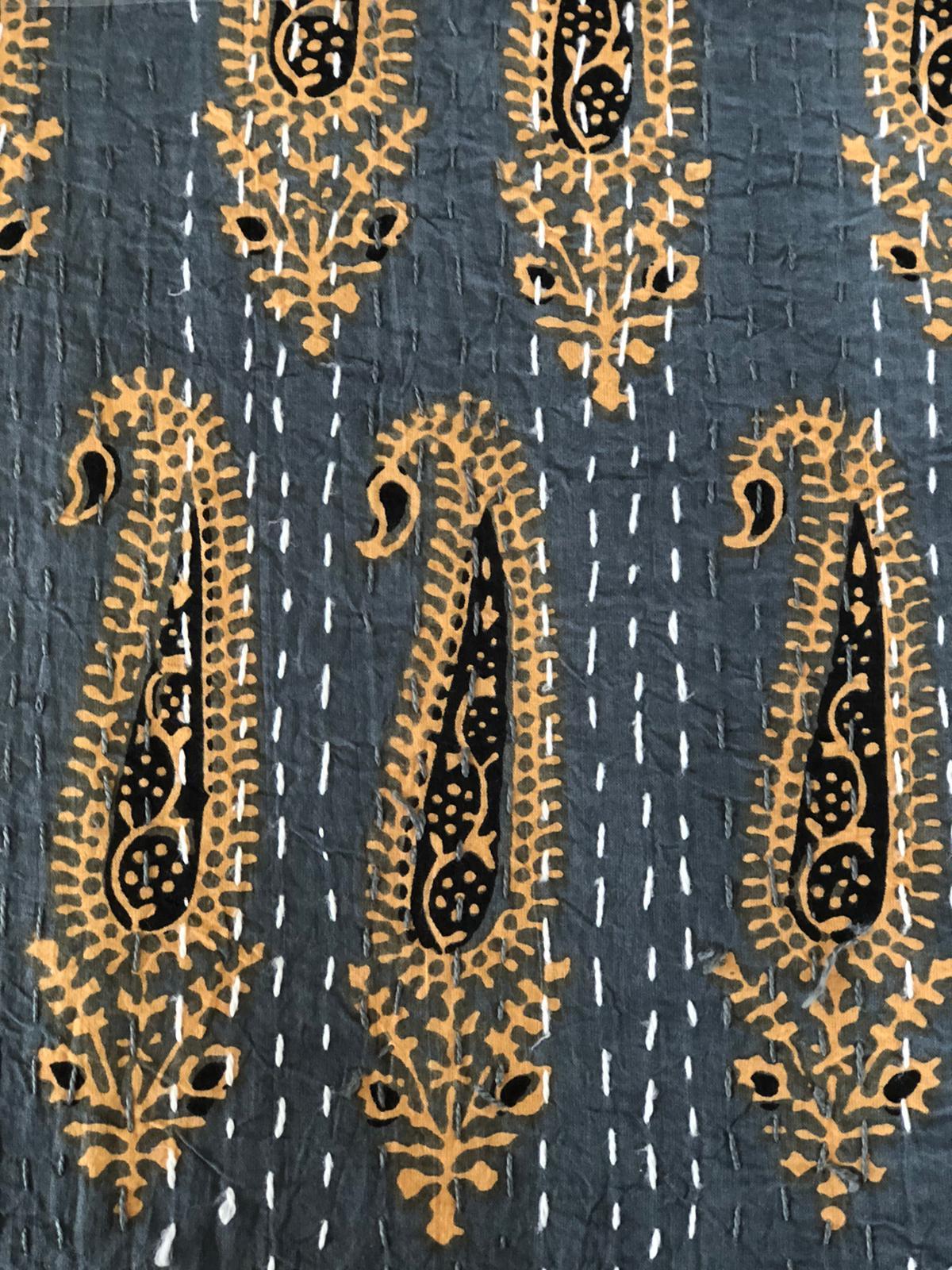 Slate Blue & Gold Bedspread - King Size