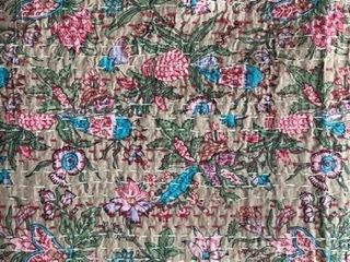 Pink & Turquoise Blue Flower Bedspread - King Size