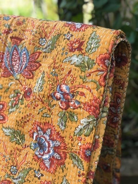 Saffron Flowers Bedspread - King Size