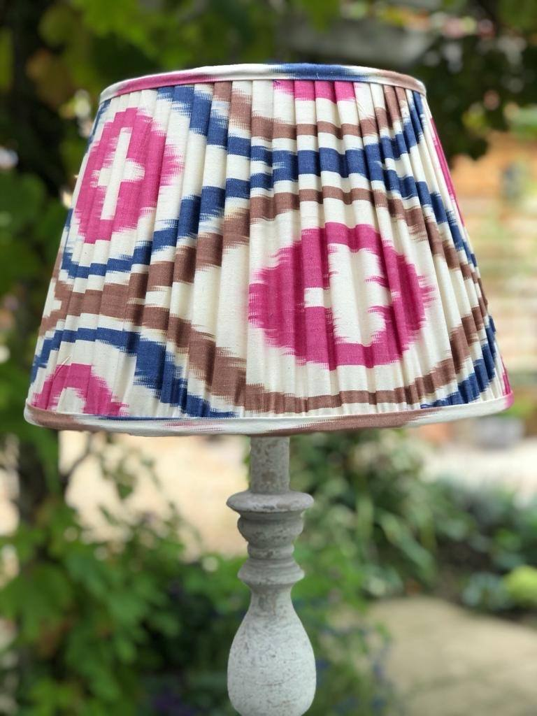 Pink, Blue and Tan Silk Ikat