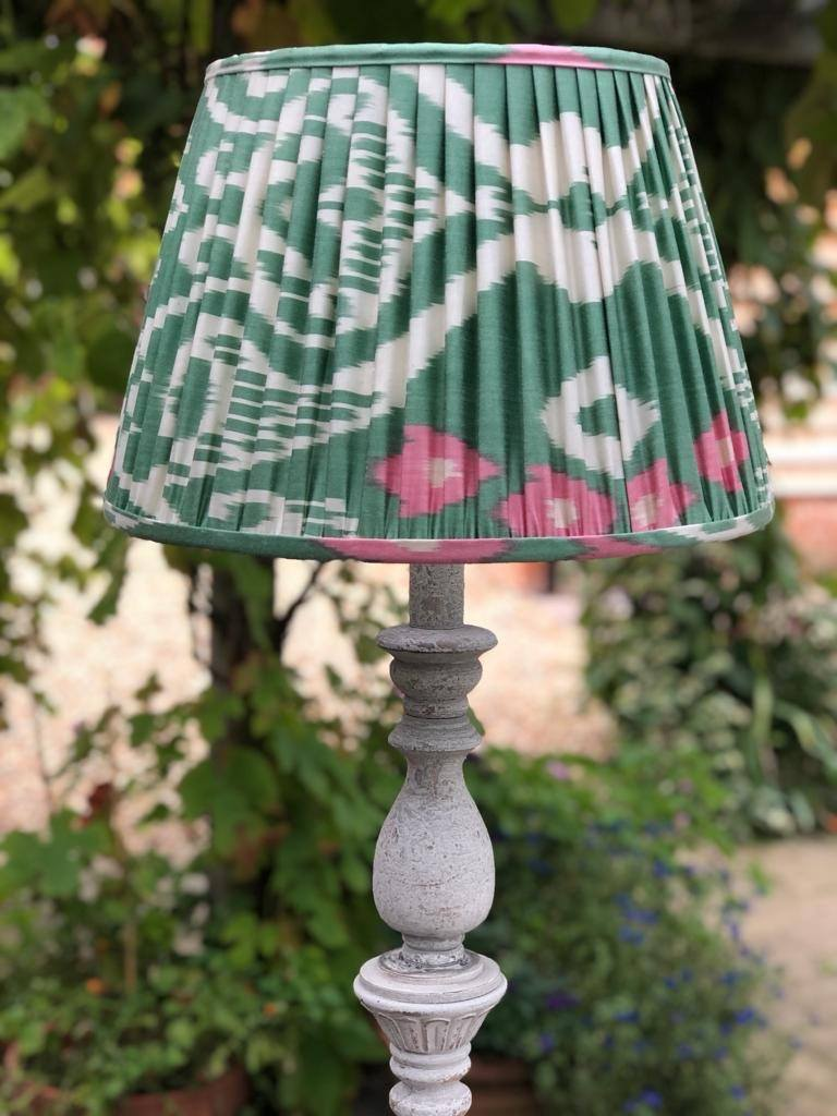 Pink & Green Silk Ikat Lampshade