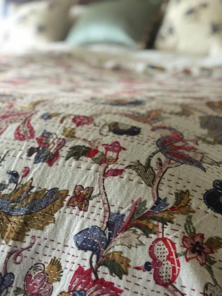SOLD OUT Sage, Indigo & Raspberry Bedspread - King Size