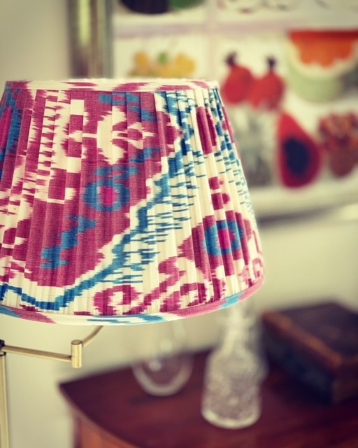 Magenta & Blue on Cream Silk Ikat