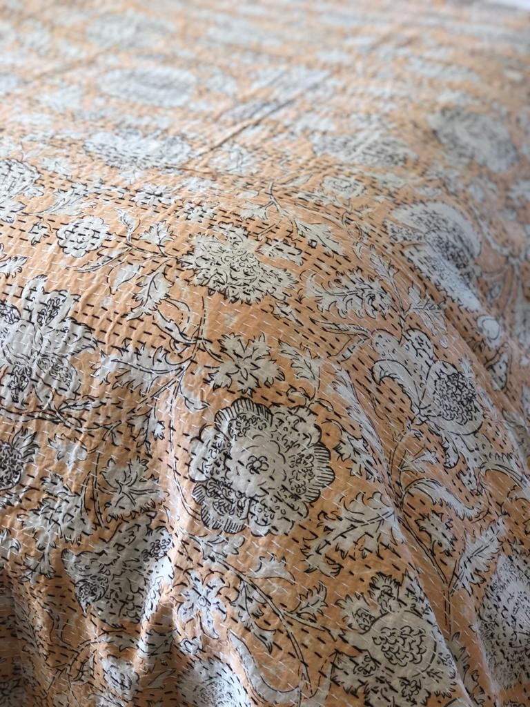 Apricot Flower Bedspread - King Size