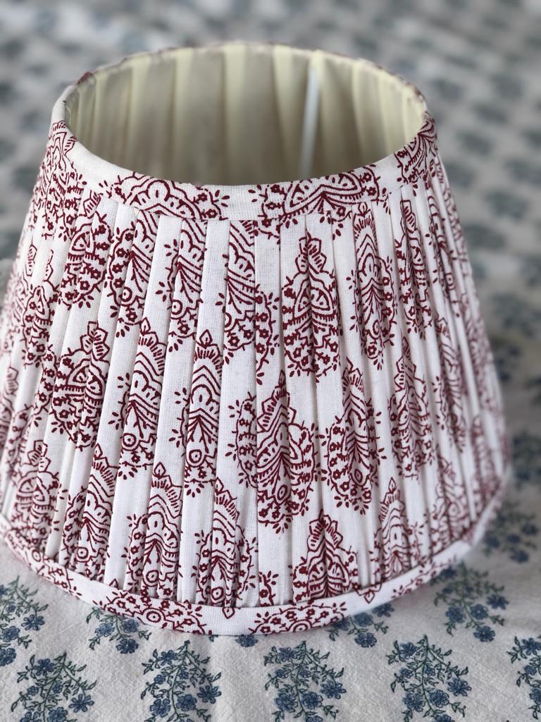 Red & White Block Print Cotton Lampshades