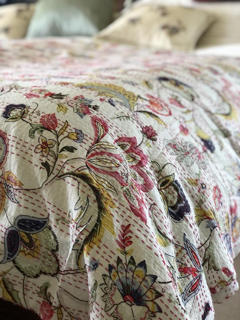 Florals on Cream Bedspread - King Size