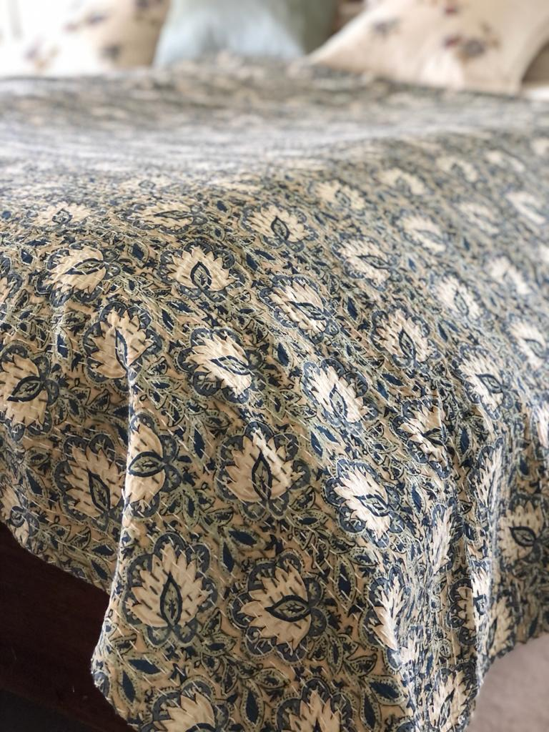 Blue Lotus Bedspread - King Size