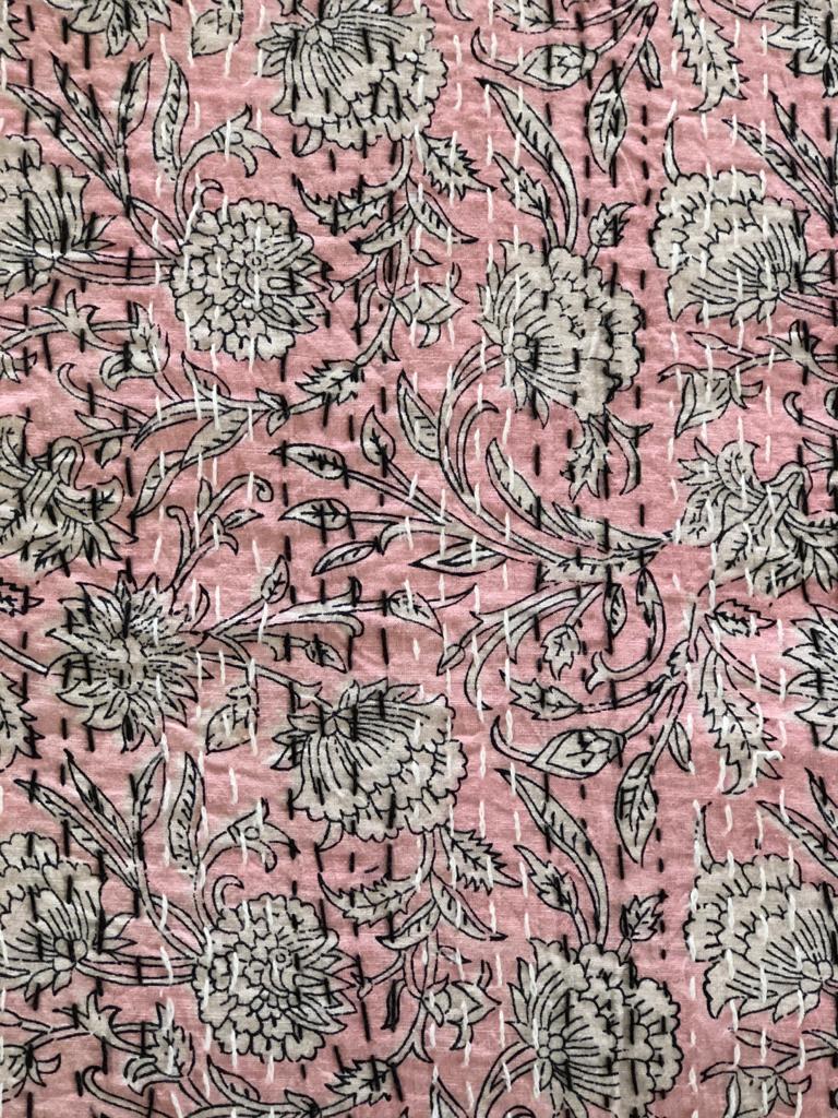 Pink & Black Floral Bedspread - King Size
