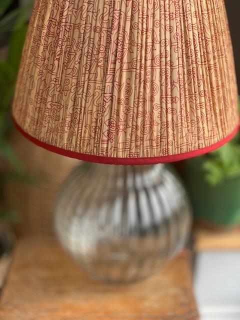 Sand & Claret Silk Sari Lampshade