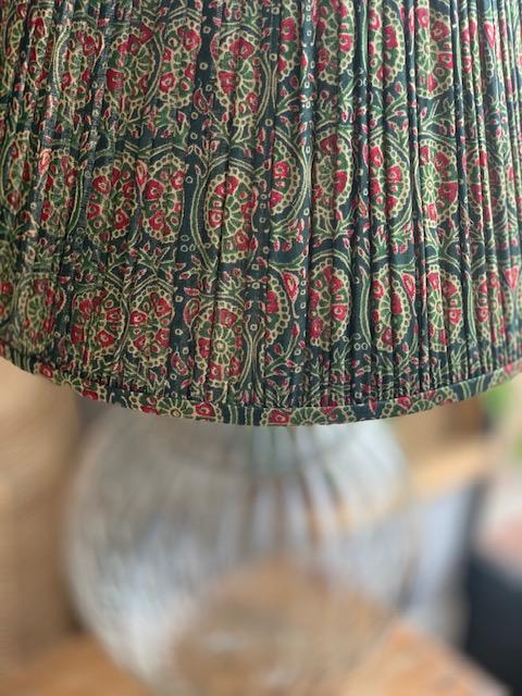 Fern & Pink Mosaic Silk Sari