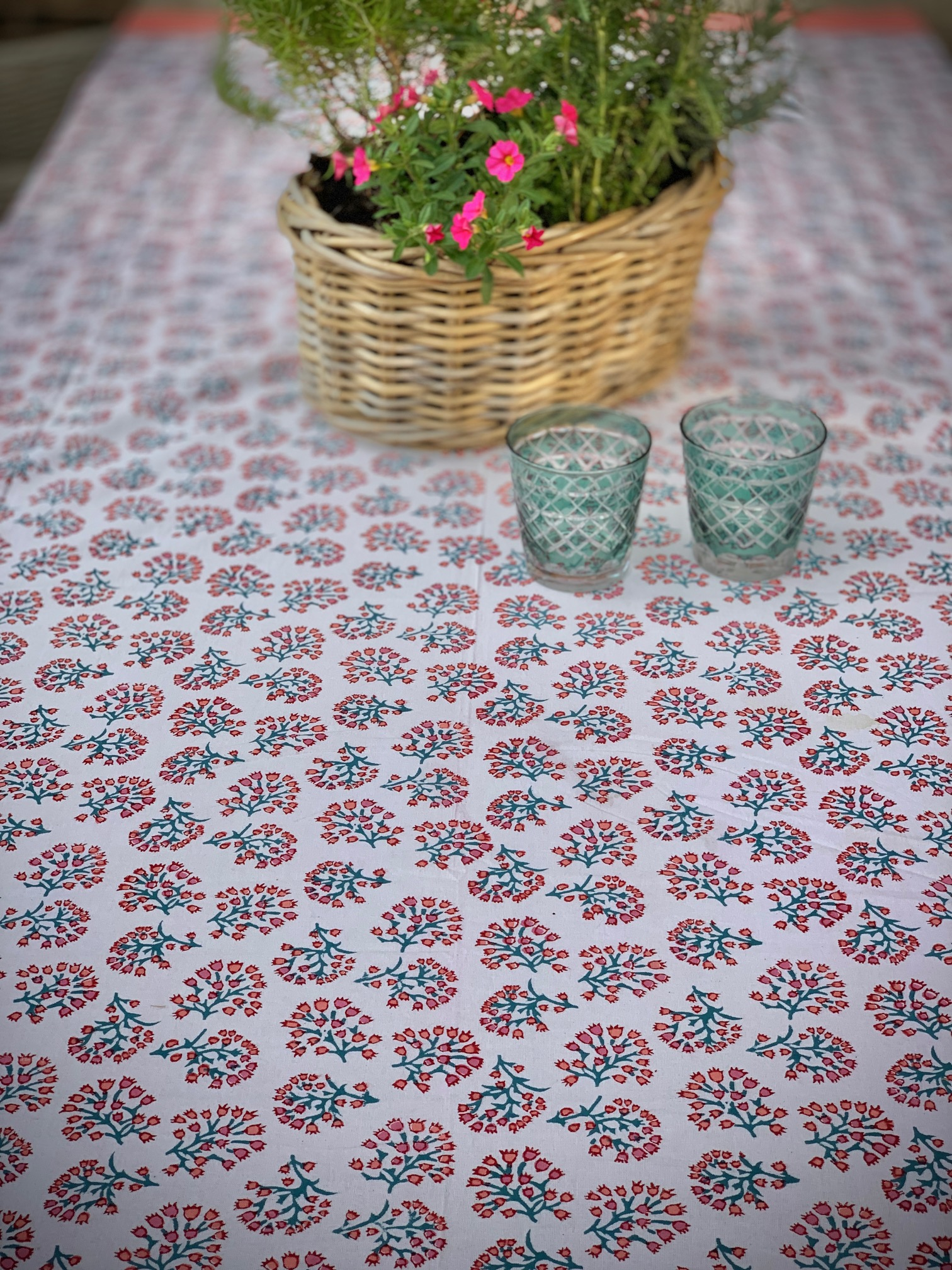 Coral & Azure Tablecloth