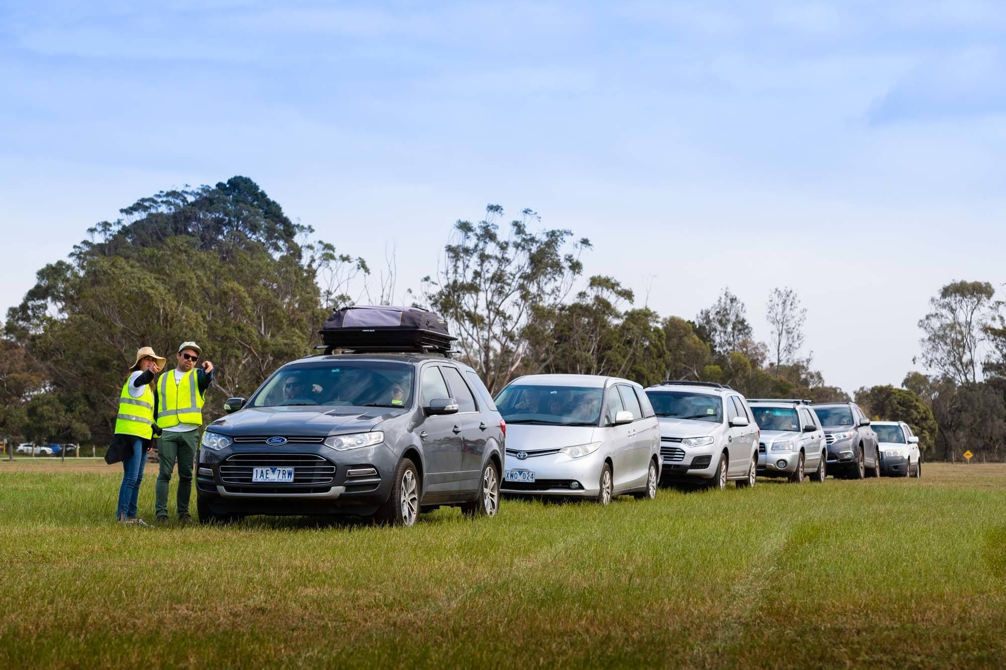 Cars lining up for the campgrounds at The Lost Lands 2016