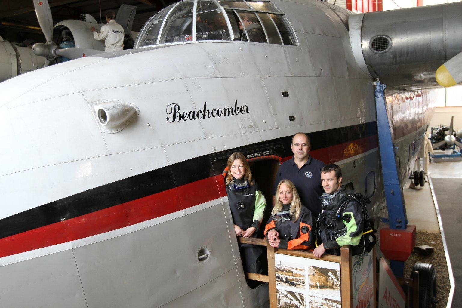 Divers visit the Flying Boat at Solent Sky Museum in Southmpton