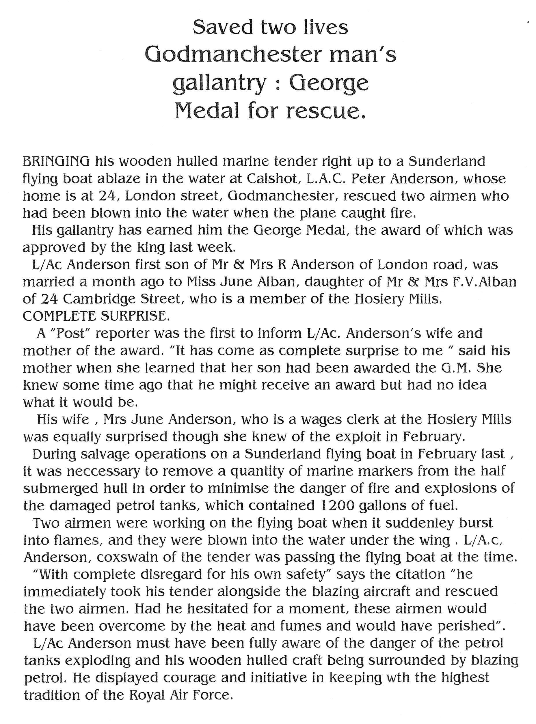 Peter 'Andy' Anderson awarded the George Medal for rescue