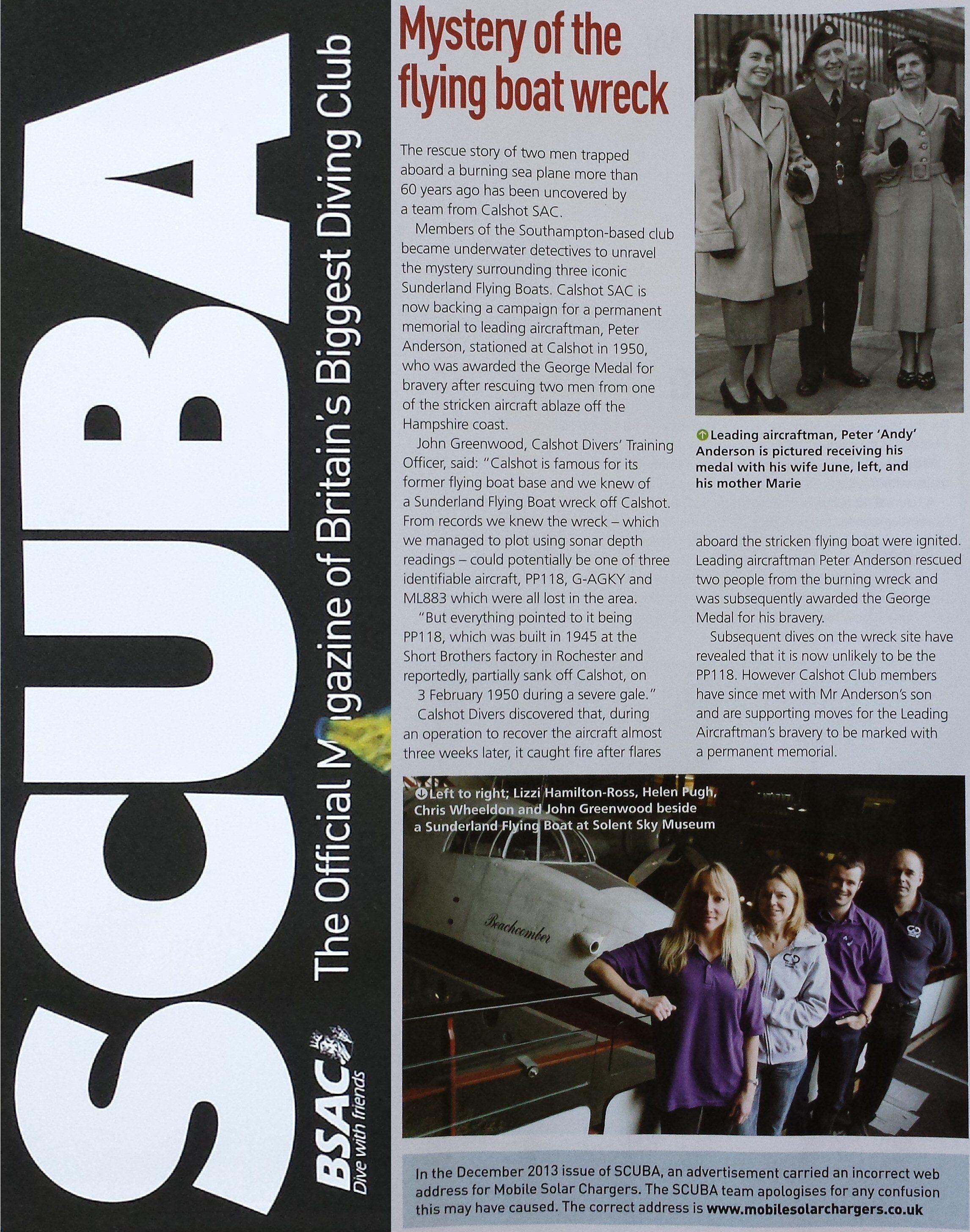 SCUBA diving magazine article