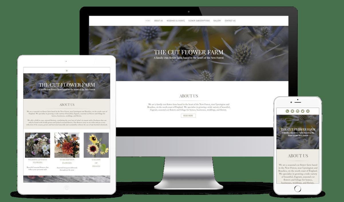 Cut Flower Farm website on responsive devices
