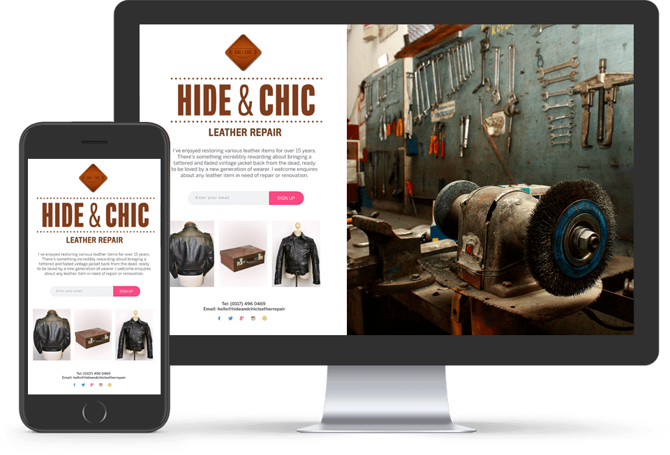 Hide & Chic Website on two devices