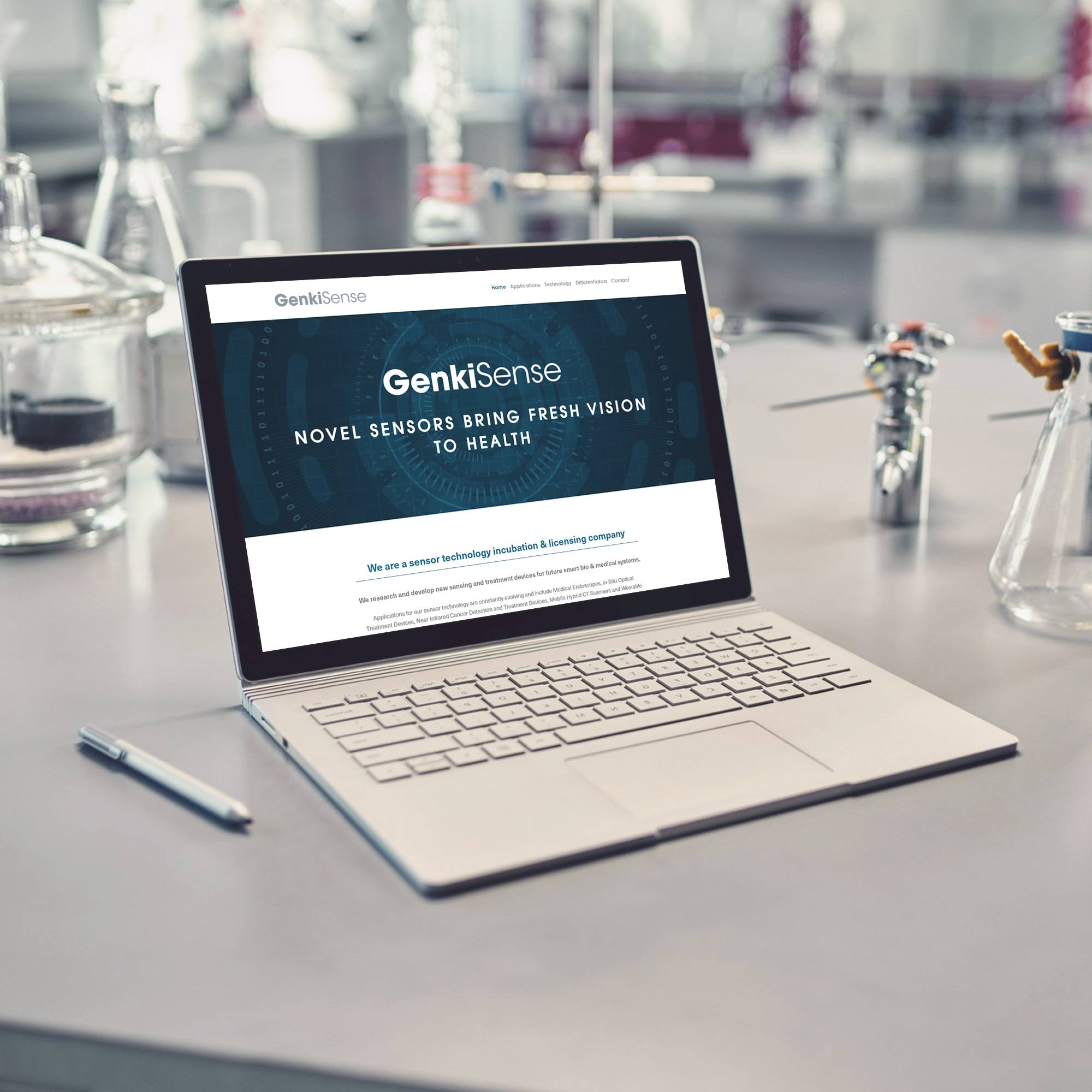Laptop with technology startup web design