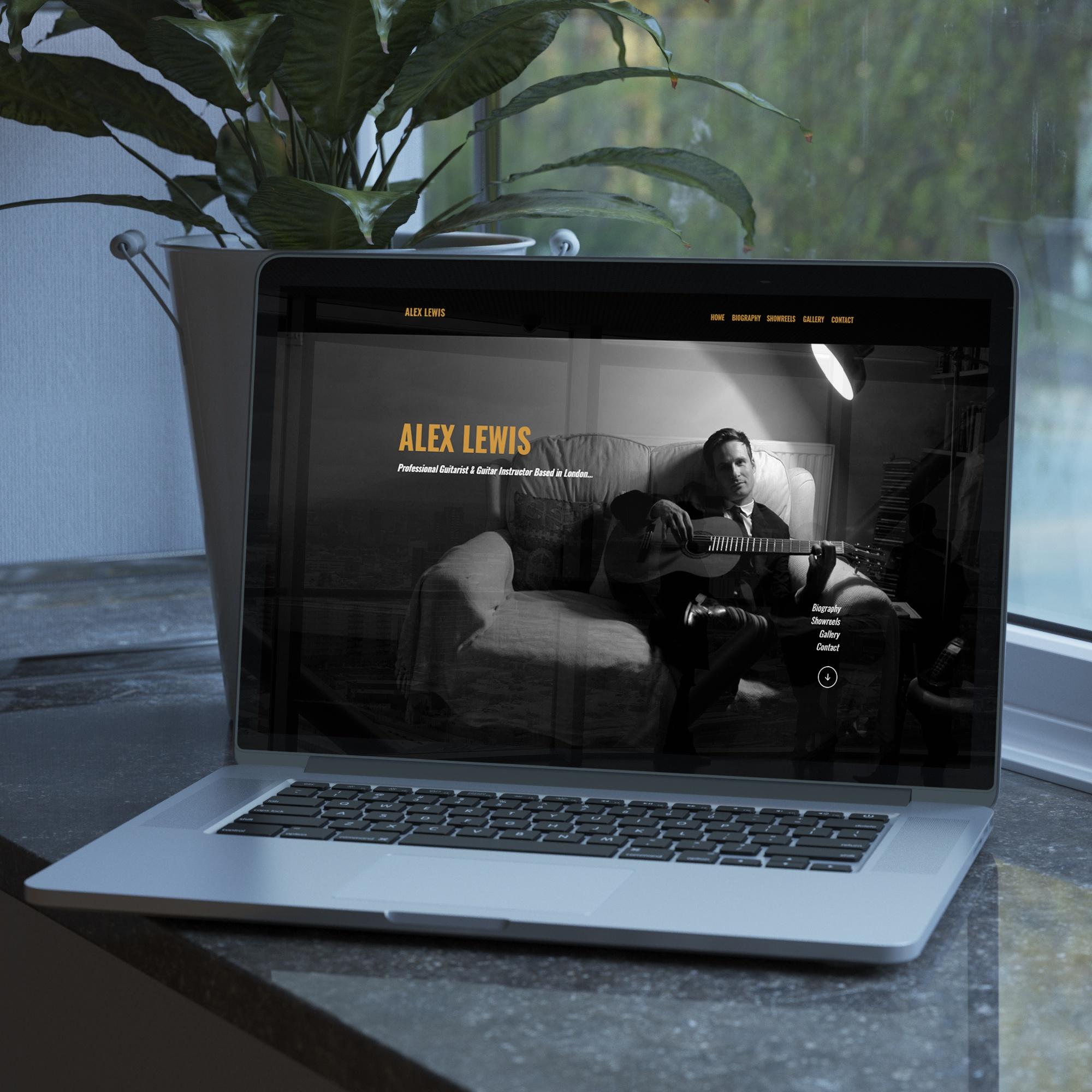 Web design for guitarist Alex Lewis