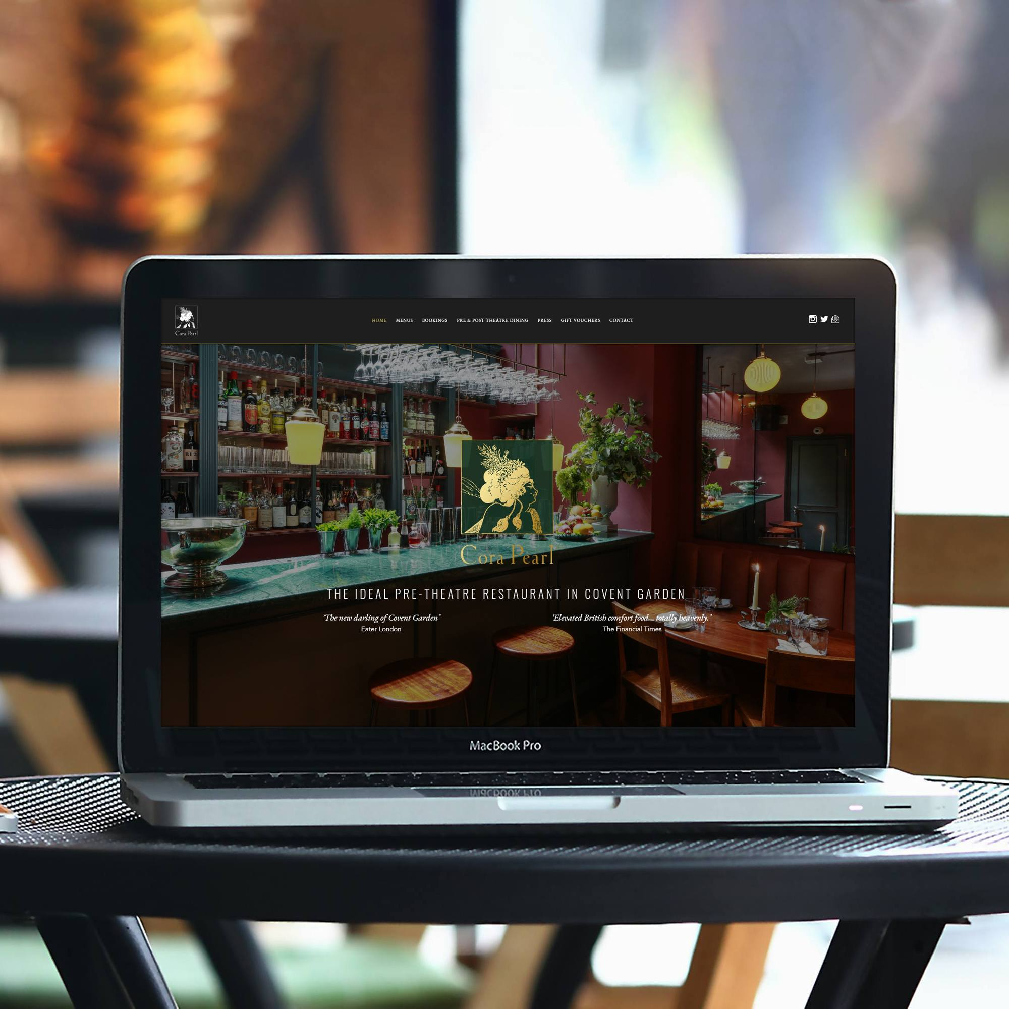 Web design for Cora Pearl restaurant