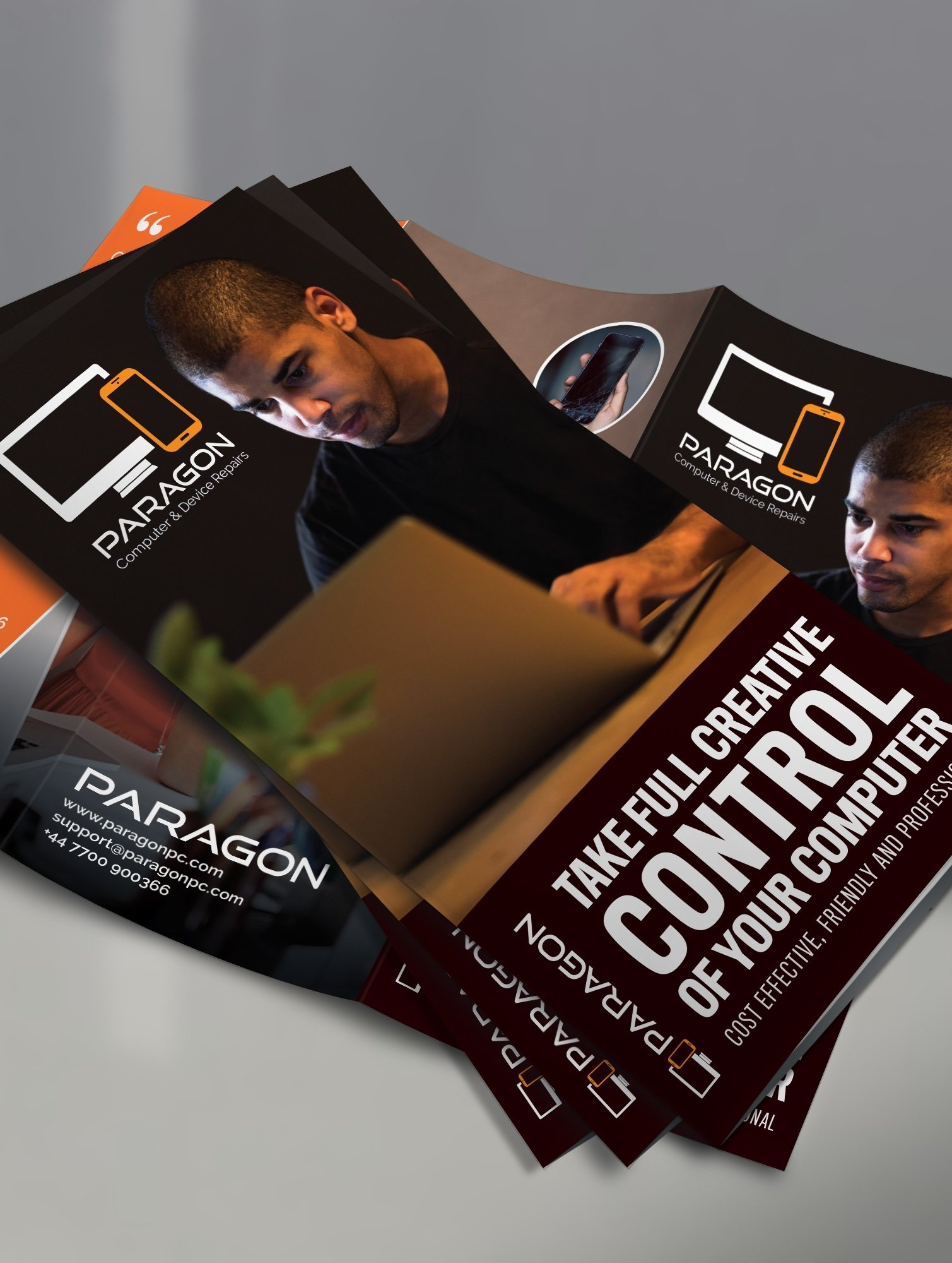 Trifold flyer for a computer repair shop