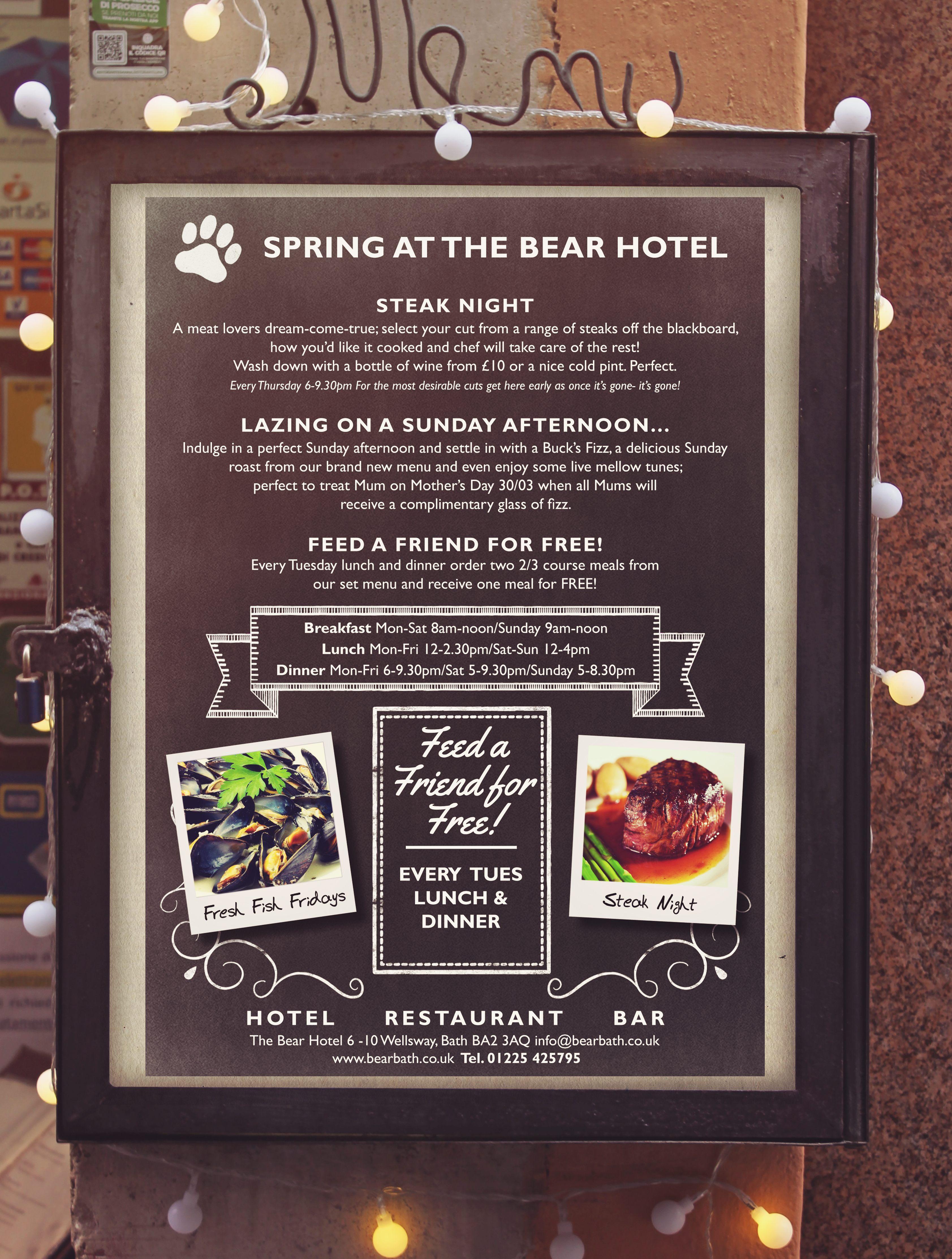 Restaurant menu in display case