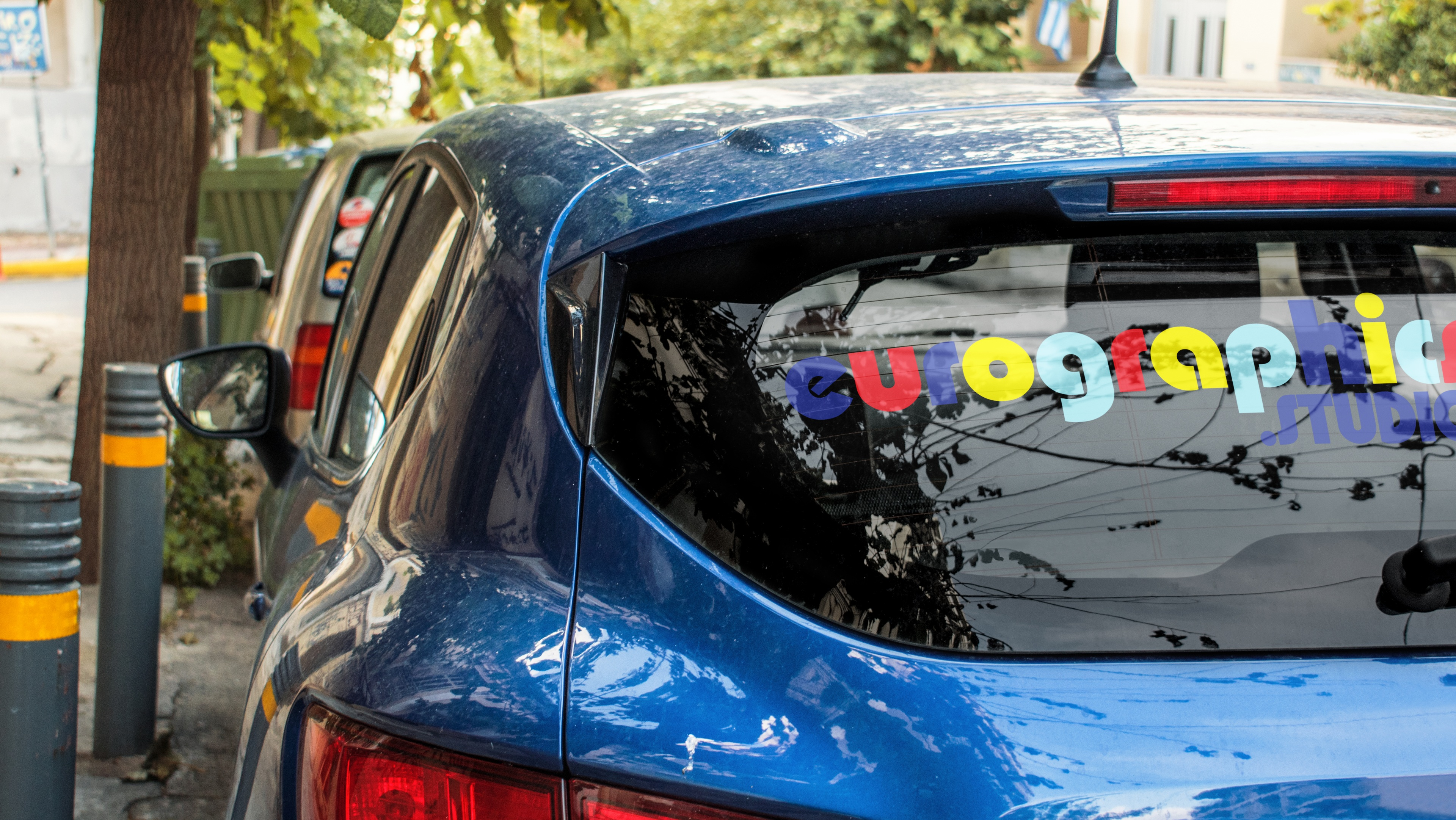 Car with window graphics