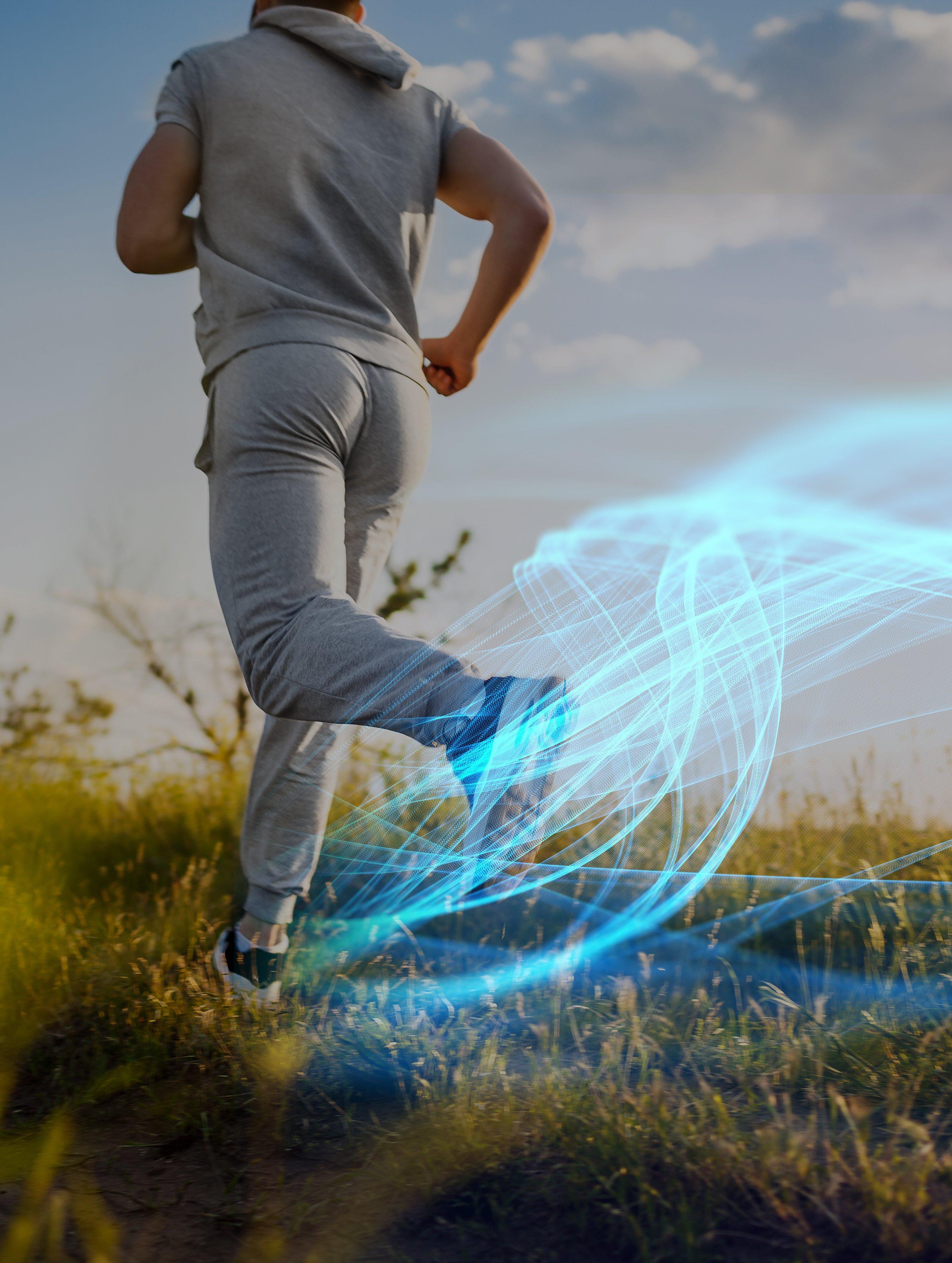 Man jogging in a field